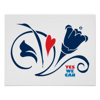 Obama - Yes We Can Love Blossoms Poster