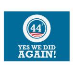 Obama - Yes We Did AGAIN Post Card