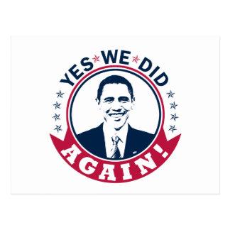 Obama Yes We Did Again V1 Color Postcard
