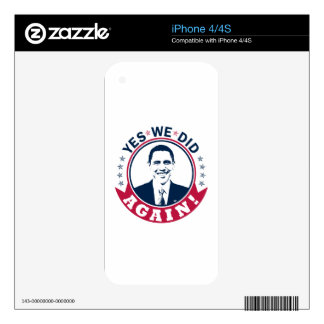 Obama Yes We Did Again V1 Color Skins For iPhone 4S