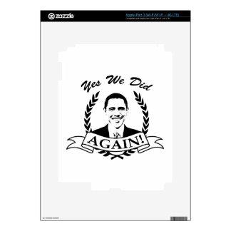 Obama Yes We Did Again V2 BW iPad 3 Decals