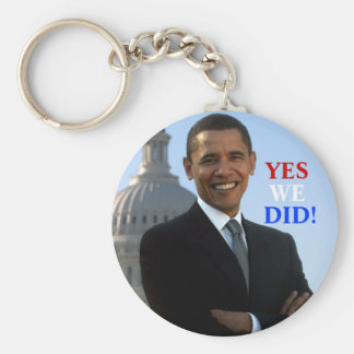 Obama Yes We Did! Basic Round Button Keychain