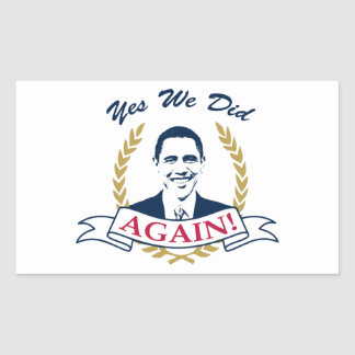 Obama Yes We Did It Again V2 Color Rectangular Stickers