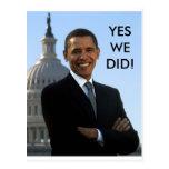 Obama Yes We Did! Postcard