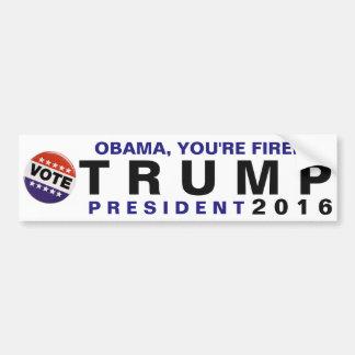 Obama, You're Fired! Trump 2016 Political Bumper Car Bumper Sticker
