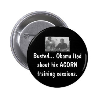 obamaacorn, Busted... Obama lied a... - Customized Pinback Button