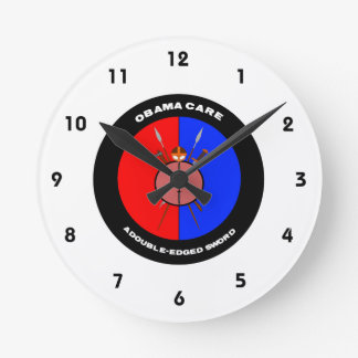 Obamacare A Double-Edged Sword (Swords) Round Wall Clock