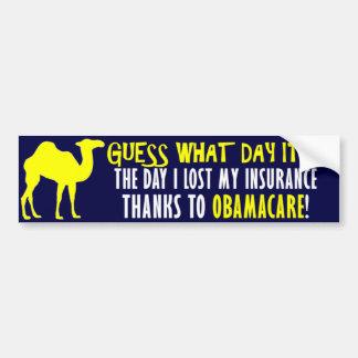 Obamacare anti: ¡Conjetura qué día es! Pegatina De Parachoque