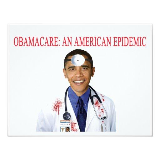 "Obamacare Anti Obama Health Care Apparel 4.25"" X 5.5"" Invitation Card"