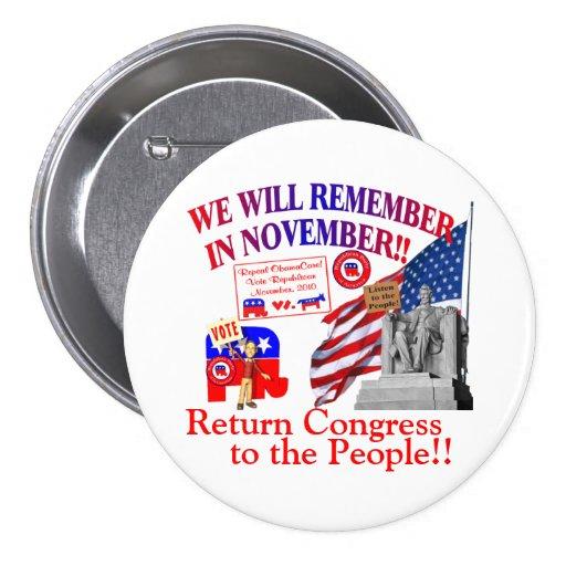 ObamaCare anti - recordaremos en noviembre Pin Redondo De 3 Pulgadas