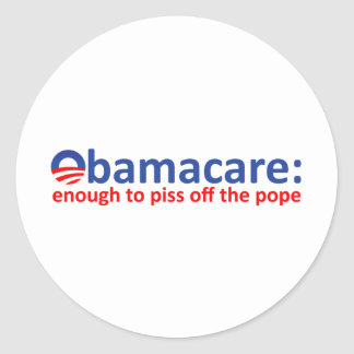 Obamacare: bastantes para piss apagado al papa pegatina redonda
