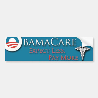 Obamacare cuenta con menos Paymore Pegatina De Parachoque