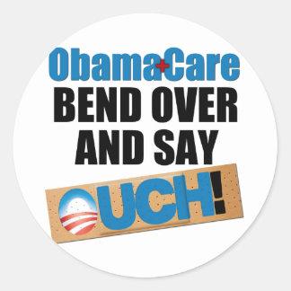 ObamaCare: Curva encima Pegatina Redonda