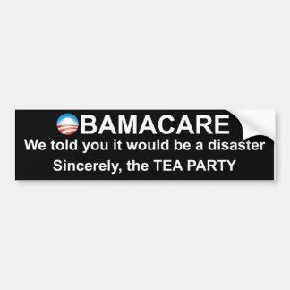 Obamacare Disaster Warning Bumper Stickers