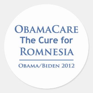 ¡Obamacare es la curación para Romnesia! Pegatinas Redondas