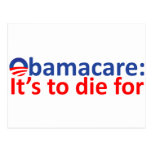 Obamacare: its to die for postcard
