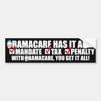ObamaCare: Mandate Tax Penalty Car Bumper Sticker