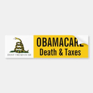 Obamacare -- Muerte e impuestos Pegatina Para Auto
