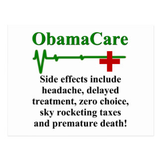 ObamaCare Side Effects Post Card