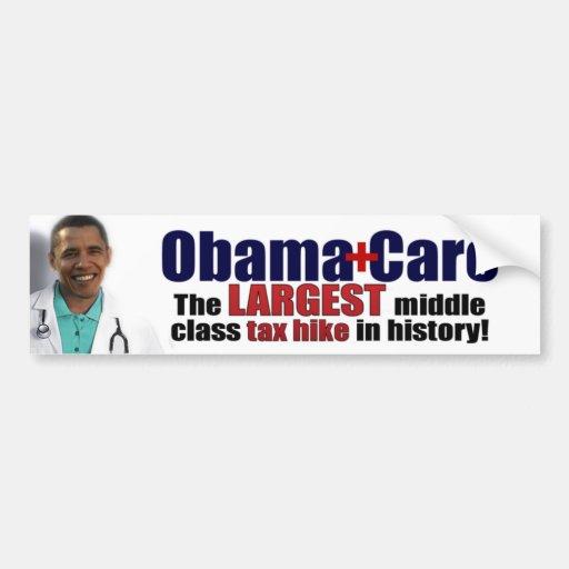 ObamaCare: Subida de impuestos de la clase media Pegatina Para Auto