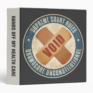 Obamacare Unconstitutional 3 Ring Binder