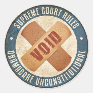 Obamacare Unconstitutional Classic Round Sticker