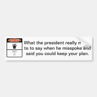 Obamacare warning label bumper sticker
