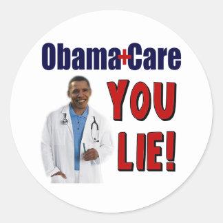 "ObamaCare: ""You Lie!"" Round Sticker"