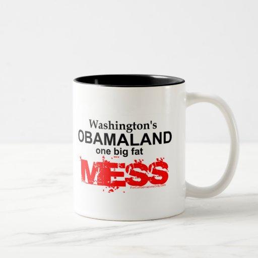 Obamaland de Washington un lío gordo grande Taza De Café