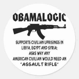 Obamalogic Supports Civilian Uprising in Syria & Classic Round Sticker