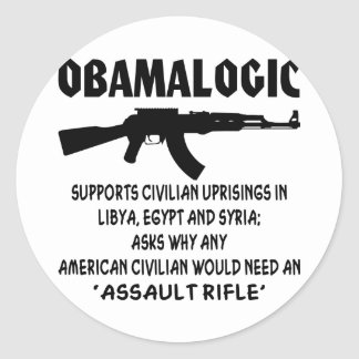 Obamalogic Supports Civilian Uprising in Syria Round Sticker