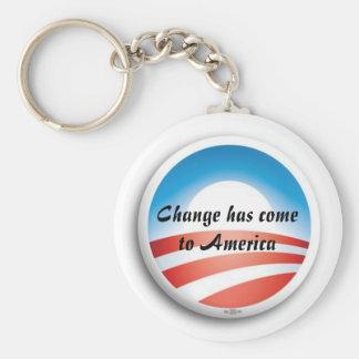 ObamaLogo, cambio ha venido a América Llavero Redondo Tipo Pin