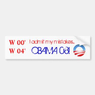 ObamaLogo, W 00' W 04', admito mis errores…,… Pegatina Para Auto