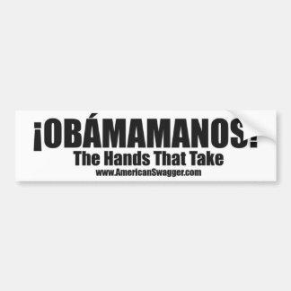 Obamamanos: Las manos que toman a la pegatina para Etiqueta De Parachoque