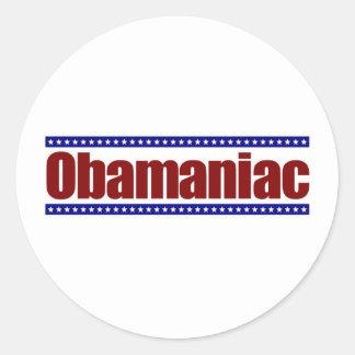 Obamaniac Round Stickers
