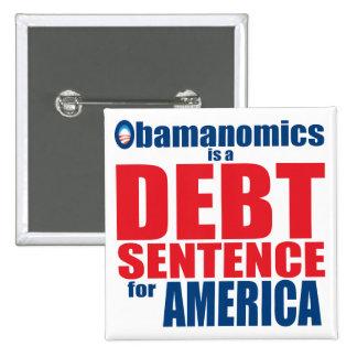 Obamanomics - Debt Sentence 2 Inch Square Button
