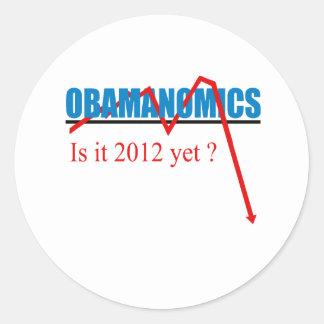 Obamanomics - está 2012 todavía pegatina redonda