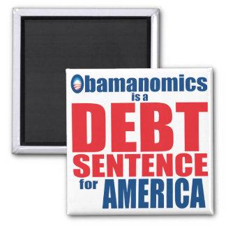 Obamanomics - frase de la deuda imán cuadrado