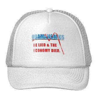 Obamanomics - He lied and the economy died Faded.p Mesh Hats