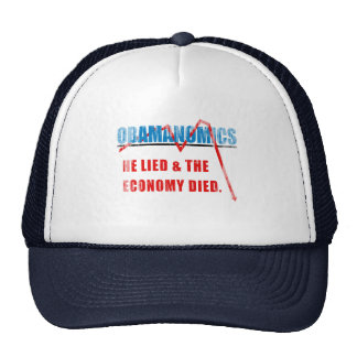 Obamanomics - He lied and the economy died Faded.p Trucker Hat