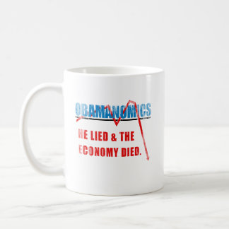 Obamanomics - He lied and the economy died Faded.p Coffee Mug