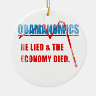 Obamanomics - He lied and the economy died Faded.p Ornament