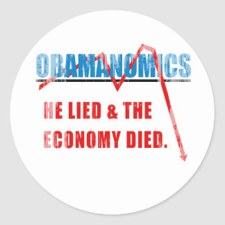 Obamanomics - He lied and the economy died Faded.p Sticker