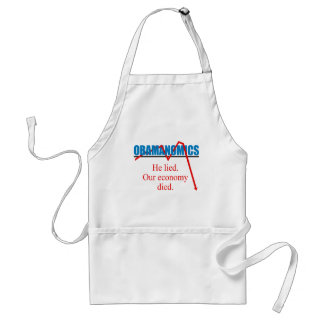 Obamanomics - He lied our economy died Adult Apron