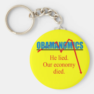 Obamanomics - He lied our economy died Basic Round Button Keychain