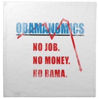 Obamanomics - ningún trabajo Ningún dinero Nobam Servilletas