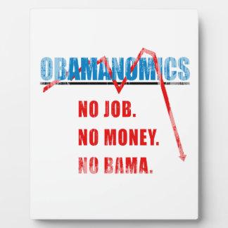 Obamanomics - No job. No money. Nobama Faded.png Plaques