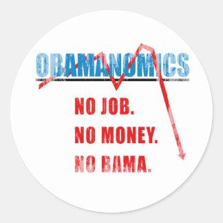 Obamanomics - No job. No money. Nobama Faded.png Sticker