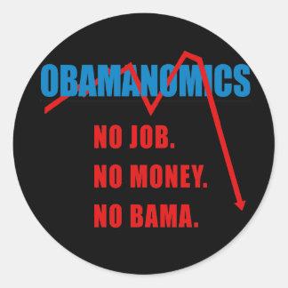 Obamanomics - No job. No money. Nobama Round Stickers