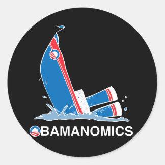 OBAMANOMICS SINKING ROUND STICKERS